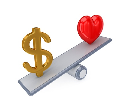 Red heart and dollar sign on simple scales. 3d rendered. Isolated on white background.