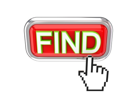 Cursor pushing red FIND button. 3d rendered. Isolated on white background.