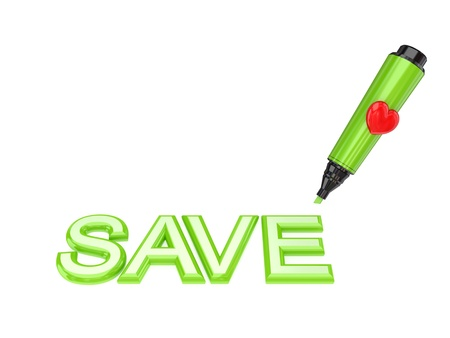 Green marker pen and word SAVE. Isolated on white background. 3d rendered.