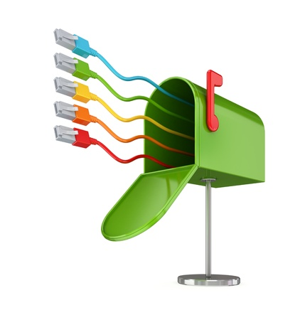 Opened green postbox and colorful patchcords.Isolated on white background.3d rendered.