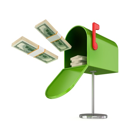 Opened green postbox and flying dollars packs.Isolated on white background.3d rendered.
