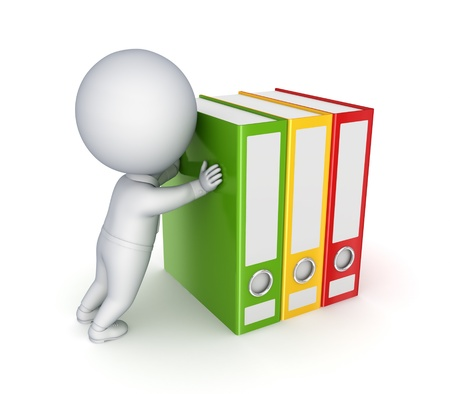 3d small person pushing colorful folders
