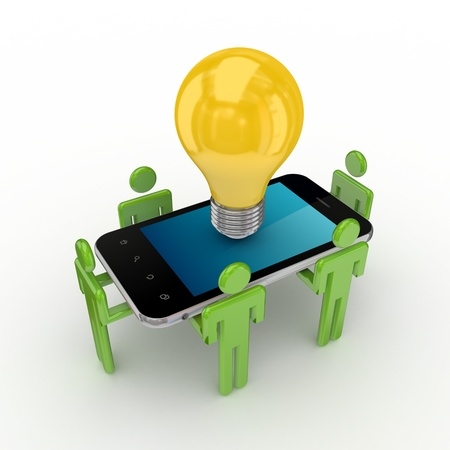 3d small people, mobile phone and idea symbol