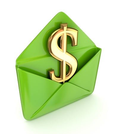 Dollar sign in a green envelope