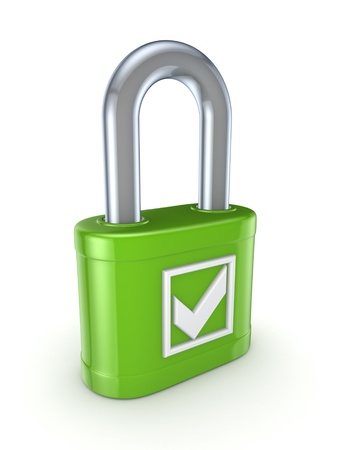 Tick mark on a green lock