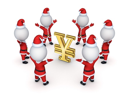 Santas around sign of yen