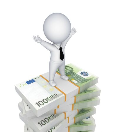 3d small person standing on a stack of euro