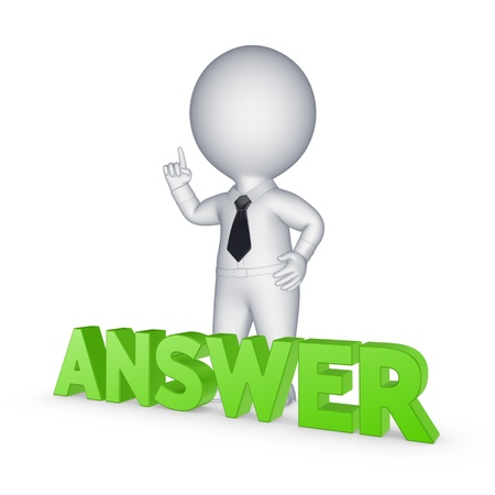Photo pour Small person and word ANSWER  - image libre de droit