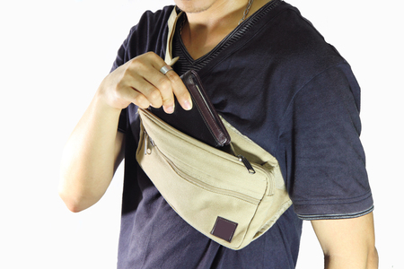 take the wallet  from waist belt bag