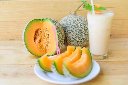 Photo for Fresh Orange melon in dish - Royalty Free Image