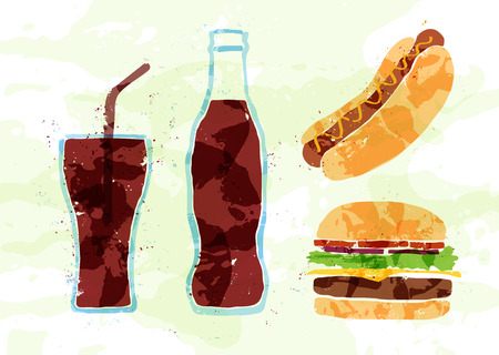 Set of fast food multicolored watercolor
