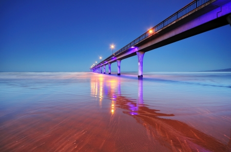 Long exposure of an ocean and New Brighton Pier Christchurch