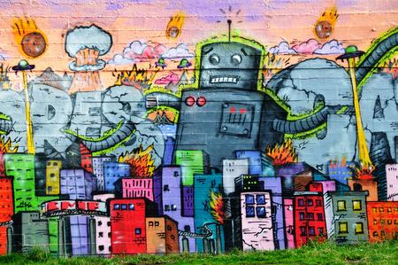REYKJAVIK, ICELAND - SEPTEMBER 22, 2013: Colorful graffiti art line the street walls and back alleys of Reykjavik, Iceland's capital.