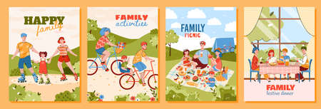 Illustration pour Happy family doing summer activities - cartoon poster set of parents with children on nature picnic, riding on roller skates and bicycle together. Vector illustration. - image libre de droit