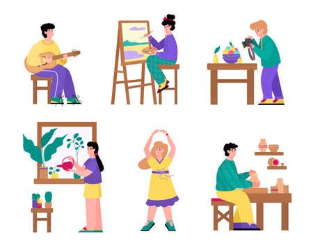 Illustration pour Set of people cartoon characters and their creative and artistic hobbies, flat vector illustration isolated on white background. Leisure activity and handcrafting. - image libre de droit