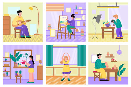 Illustration pour Set of people performing free time activities and hobbies, flat cartoon vector illustration. People home different leisure and hobby banners collection. - image libre de droit