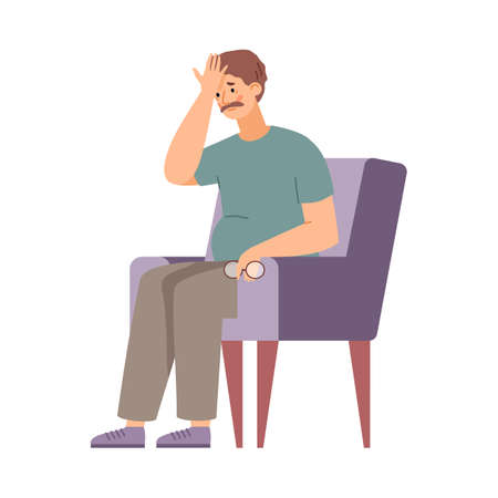 Illustration for Middle aged man tired and exhausted in armchair, vector illustration isolated. - Royalty Free Image