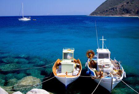 Small fishing boats on the Greek island of Corfu