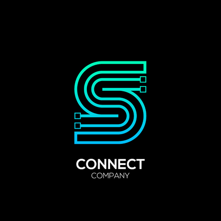 Illustration pour Letter S logotype blue and green color,Technology and digital abstract dot connection vector logo - image libre de droit
