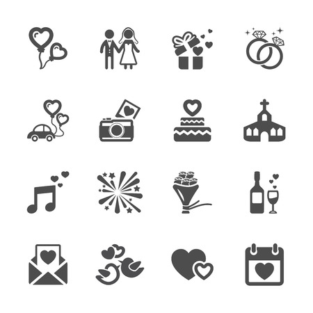 wedding icon set, vector eps10.のイラスト素材
