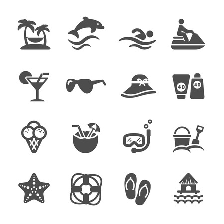 travel and summer beach icon set