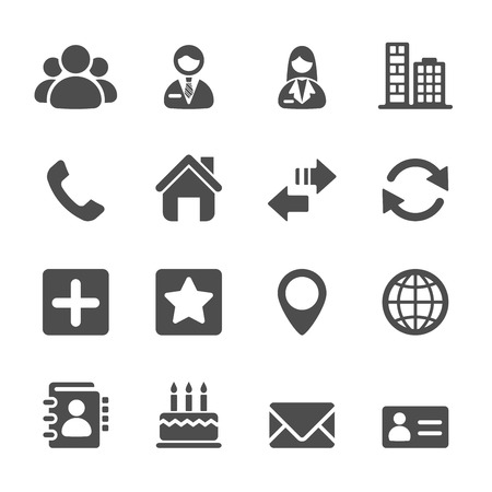 contact icon set, vector eps10.