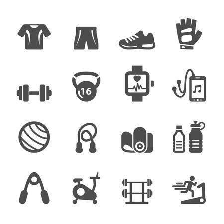 healthy fitness equipment icon set, vector