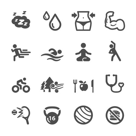 healthy and fitness icon set, vector eps10.