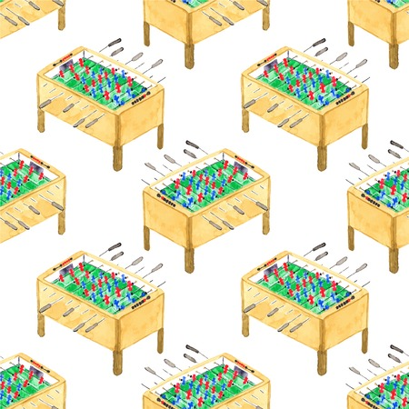 Watercolor seamless pattern with football tables on the white background