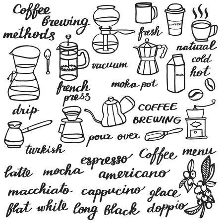 Big coffee set. Hand-drawn cartoon coffee elements. Doodle drawing. Vector illustration.