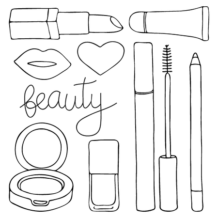 Cosmetics Or Make Up Set Hand Drawn Cartoon Collection Of Cosmetic Beauty Products Lip Gloss Lipstick Mascara Pencil Cushion Lips Nail Polish Doodle Drawing Vector Illustration Royalty Free Vector Graphics