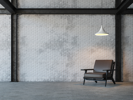 Foto de Loft style living room 3d rendering image.There are white brick wall,polished concrete floor and black steel structure.Furnished with dark brown leather armchair - Imagen libre de derechos