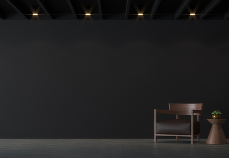 Foto de Modern loft living room with black wall 3d rendering image.There are polished concrete floor,black wall and black wood ceiling furnished with brown leather and wood furniture  - Imagen libre de derechos