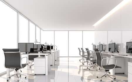 Minimal style office 3d render.There are white floor and glossy wall.Furnished with black furniture .There are large windows looking out to see the scenery outside.