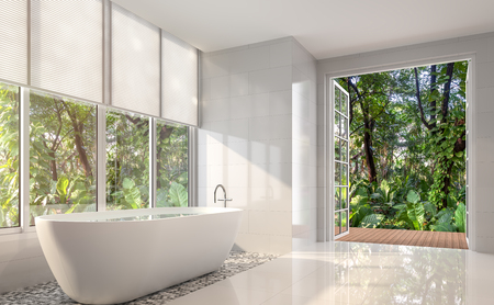 Modern white bath room 3d render. There are white tile wall and floor.The room has large open door looking out to the tropical garden.の写真素材