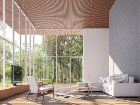 Photo pour Tropical house living room 3d render.The Rooms have wooden floors and ceiling,concrete tile wall.furnished with white fabric furniture.There are large window. Overlooks to garden view. - image libre de droit