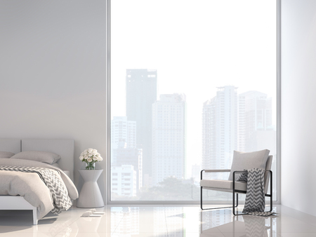 Photo pour Minimal white bedroom with city view 3d render, Decorate with white fabric furniture ,The room has large windows,Sunlight shines into the room. - image libre de droit
