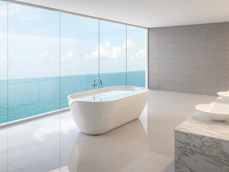 Foto de Minimal loft bathroom 3d render,There are white floor,concrete tile walll and round bathtub,There are large frameless glass window overlooking to full sea view. - Imagen libre de derechos