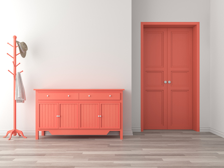 Foto de Empty room entrance hall interior with coral color concept 3d render,There are wood floor,white wall,orange empty cabinet and door. - Imagen libre de derechos