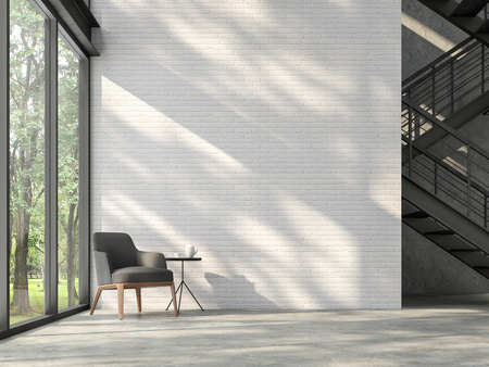 Photo pour Loft style stair hall 3d render,There are white brick wall,polished concrete floor and black steel structure stair,There are large windows look out to see the nature,sunlight shining into the room. - image libre de droit