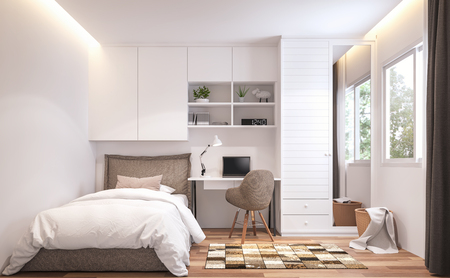 Foto de Teenage bedroom 3d render,There are wooden floor and  white wall.Furnished with brown bed and white cabinet.There are white frame window overlooks to nature view. - Imagen libre de derechos