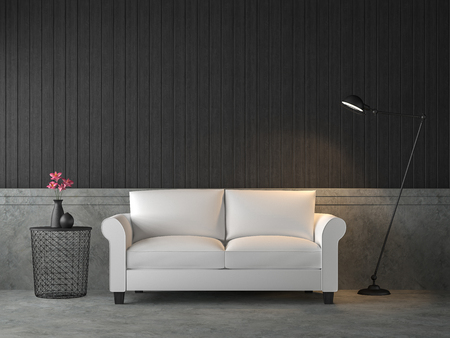 Photo pour Loft style living room 3d render,There are polished concrete wall and floor,furnished with white sofa,Decorating with industrial style lamp. - image libre de droit