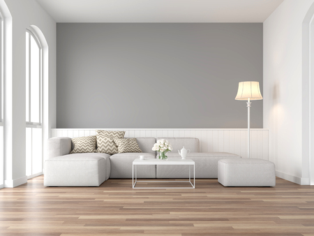 Photo pour Minimal style vintage living room 3d render,There are wood floor and  gray wall,Furnished with white fabric sofa ,There are arch shape window nature light shining into the room. - image libre de droit