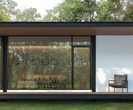 Photo pour Exterior of modern house terrace in the garden 3d render, There are wooden floor and ceiling, There is a large glass window with a reflection of the surrounding nature. - image libre de droit