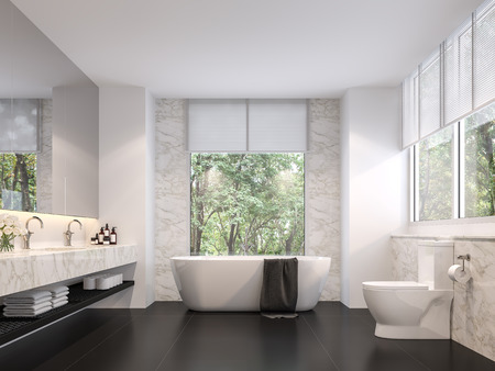 Photo pour Luxurious bathroom with natural views 3d render,The room has black tile floors, white marble walls, There are large windows sunlight shining into the room. - image libre de droit