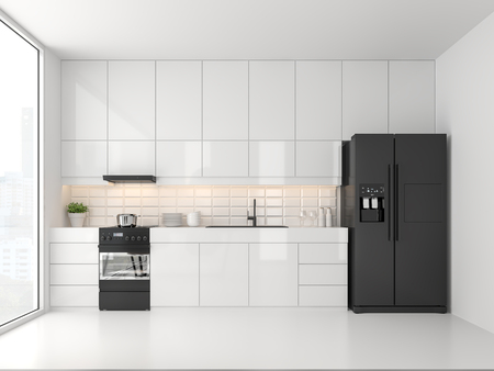 Photo pour Minimal style kitchen 3d render.There are white floor and wall, Glossy white cabinet doors,Black refrigerator and oven,The room has large windows. lookink out to the city view. - image libre de droit