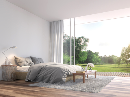 Photo for Modern bedroom 3d render.The Rooms have wooden floors ,decorate with gray fabric bed,There are large open sliding doors, Overlooks wooden terrace and big garden. - Royalty Free Image