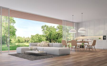 Foto de Modern Living, dining room and kitchen with garden view 3d render.The Rooms have wooden floors ,decorate with white furniture,There are large open doors. Overlooks wooden terrace and large garden. - Imagen libre de derechos