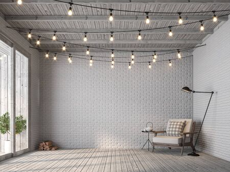 Foto de Scandinavian loft style living room 3d render,There are old wood floor and white brick wall, decorated with white fabric chair, Decorated with string lights on the ceiling seem prepared for a party. - Imagen libre de derechos