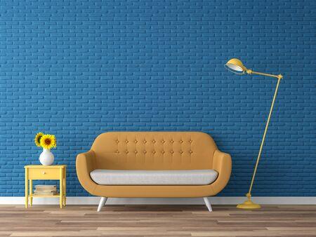 Foto de Colorful living room 3d render,There are wood floor,navy blue empty brick wall,decorate with yellow fabric sofa - Imagen libre de derechos